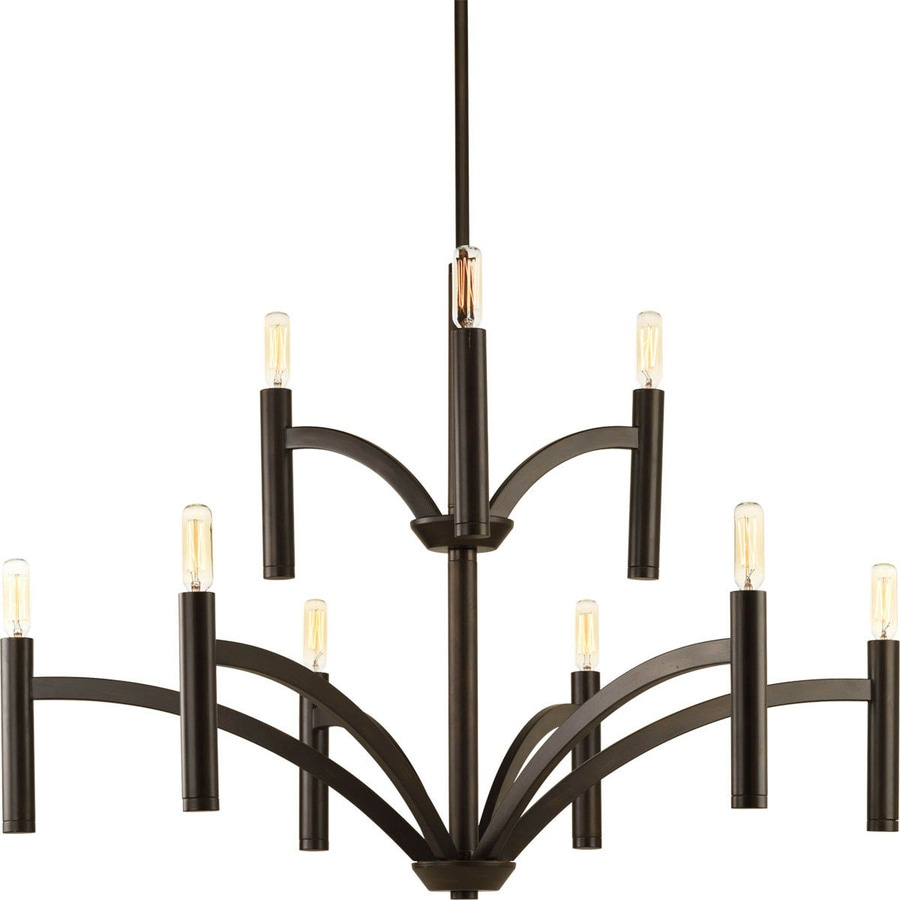 Progress Lighting Draper 32-in 9-Light Antique Bronze Vintage Candle Chandelier
