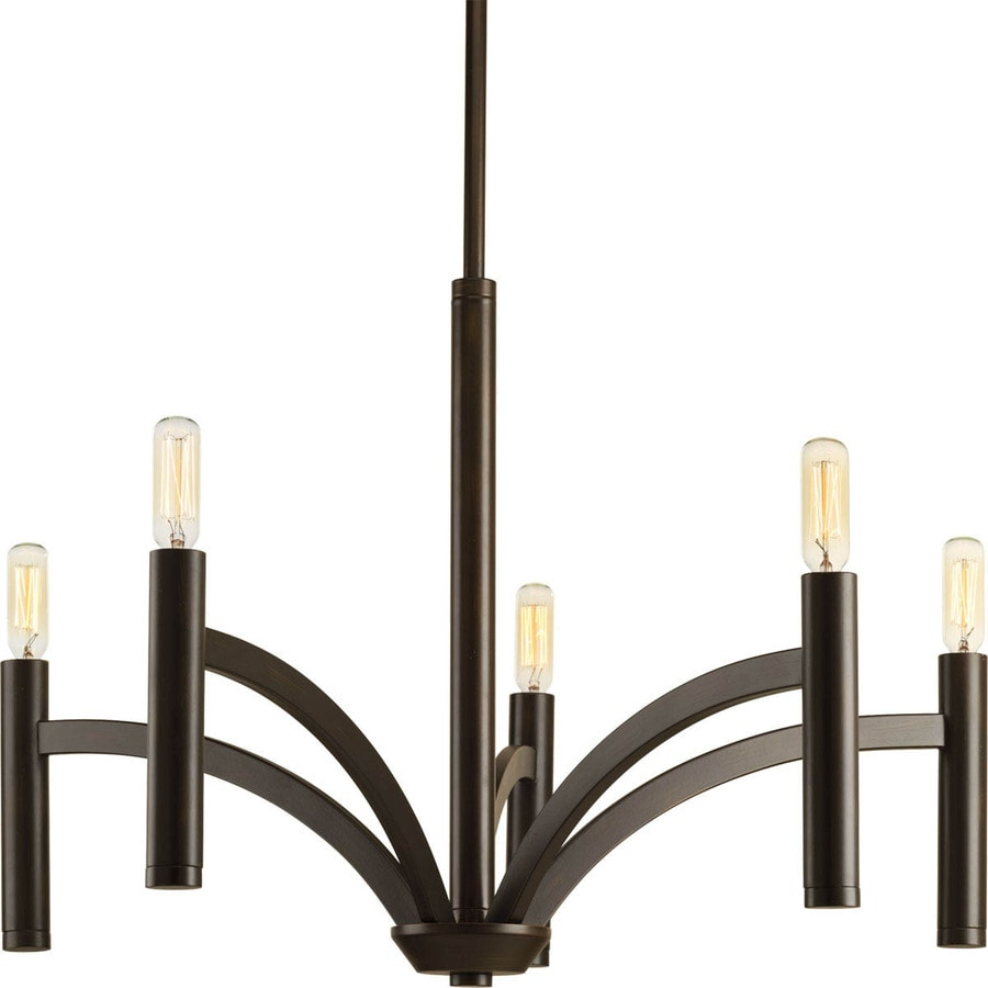 Progress Lighting Draper 25-in 5-Light Antique Bronze Vintage Candle Chandelier