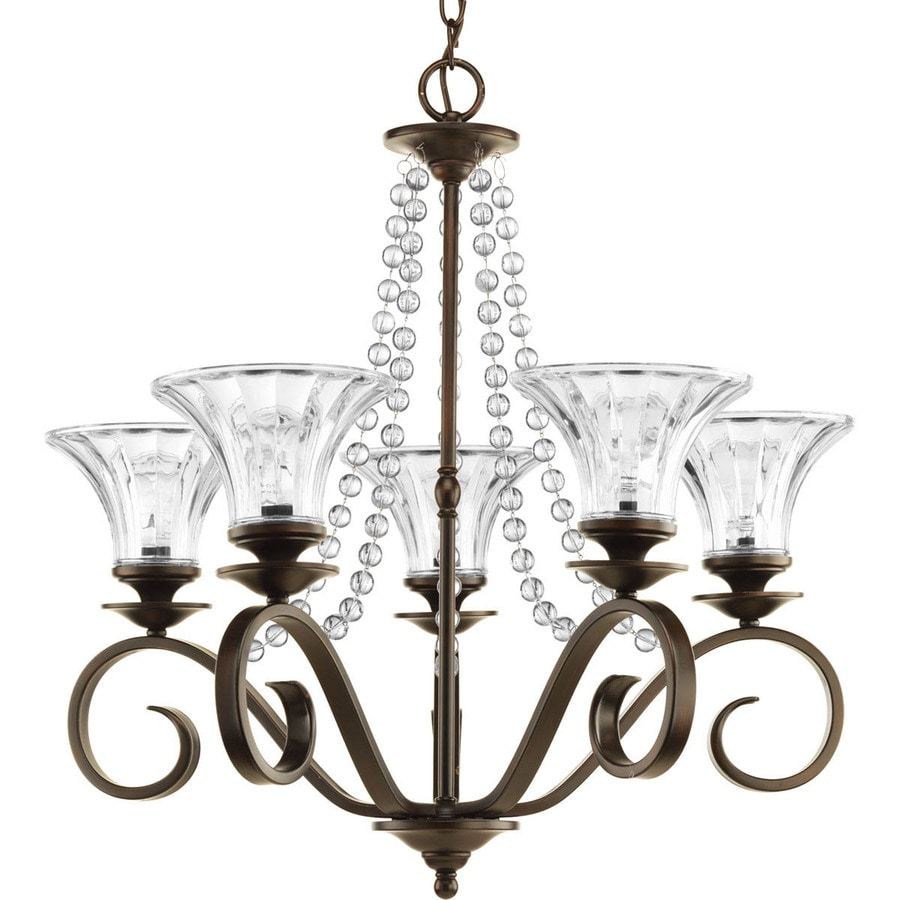 Shop progress lighting bliss 2575 in 5 light antique bronze crystal progress lighting bliss 2575 in 5 light antique bronze crystal clear glass shaded chandelier arubaitofo Images