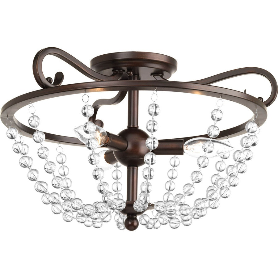 progress lighting bliss 17in w antique bronze clear glass semiflush mount light - Semi Flush Mount Lighting