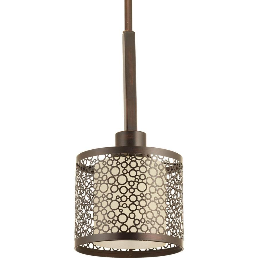 Progress Lighting Mingle 6-in Antique Bronze Mini Cylinder Pendant
