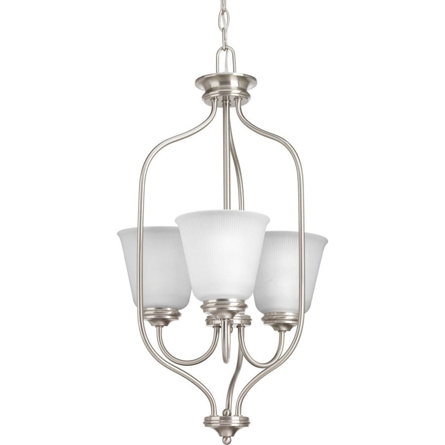 Progress Lighting Keats 15-in 3-Light Brushed Nickel Ribbed Glass Shaded Chandelier