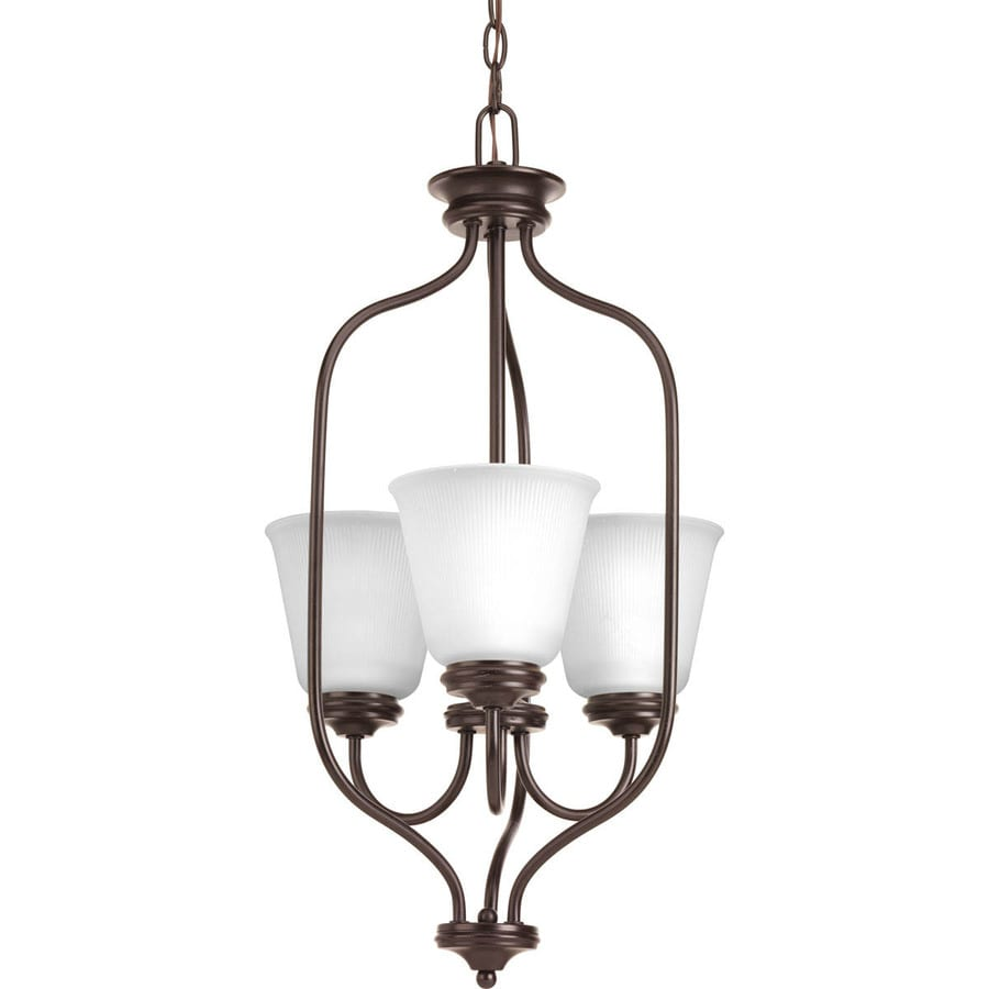 Progress Lighting Keats 15-in 3-Light Antique Bronze Ribbed Glass Shaded Chandelier