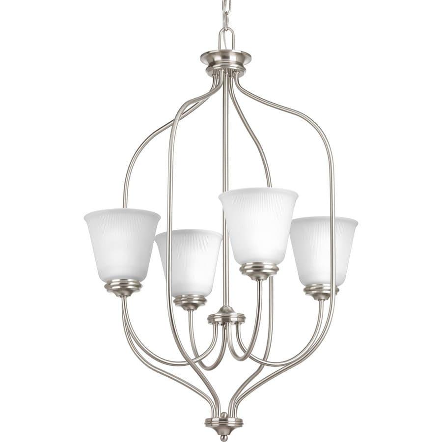 Progress Lighting Keats 21-in 4-Light Brushed nickel Ribbed Glass Shaded Chandelier
