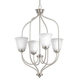 shop chandeliers at lowes Mercury Milan Rims progress lighting keats 4 light brushed nickel transitional ribbed glass shaded chandelier