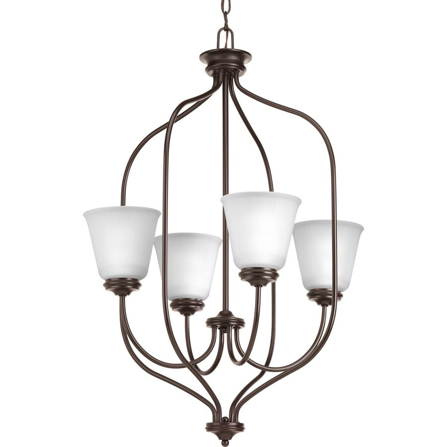 Progress Lighting Keats 21-in 4-Light Antique Bronze Ribbed Glass Shaded Chandelier
