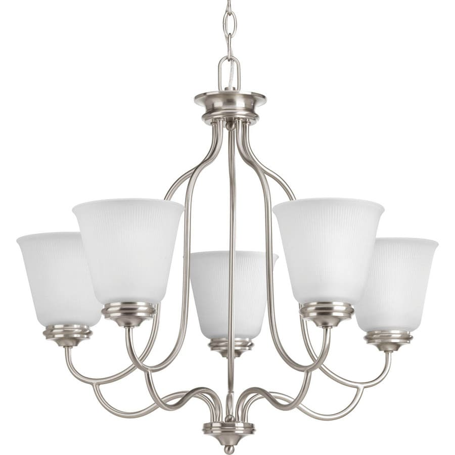 Progress Lighting Keats 24.5-in 5-Light Brushed Nickel Ribbed Glass Shaded Chandelier