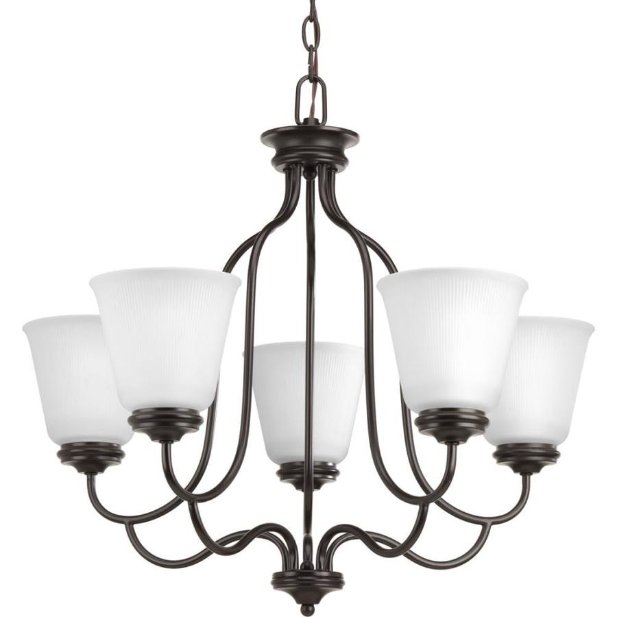 Progress Lighting Keats 24.5-in 5-Light Antique Bronze Ribbed Glass Shaded Chandelier