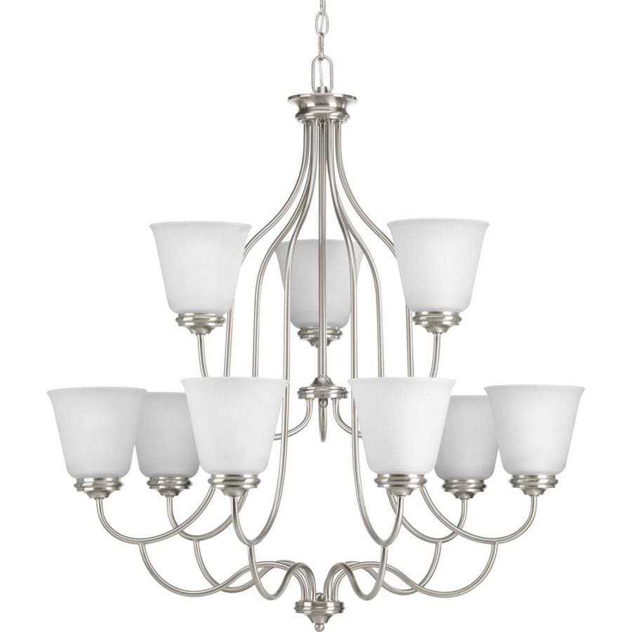 Progress Lighting Keats 30.5-in 9-Light Brushed Nickel Ribbed Glass Shaded Chandelier