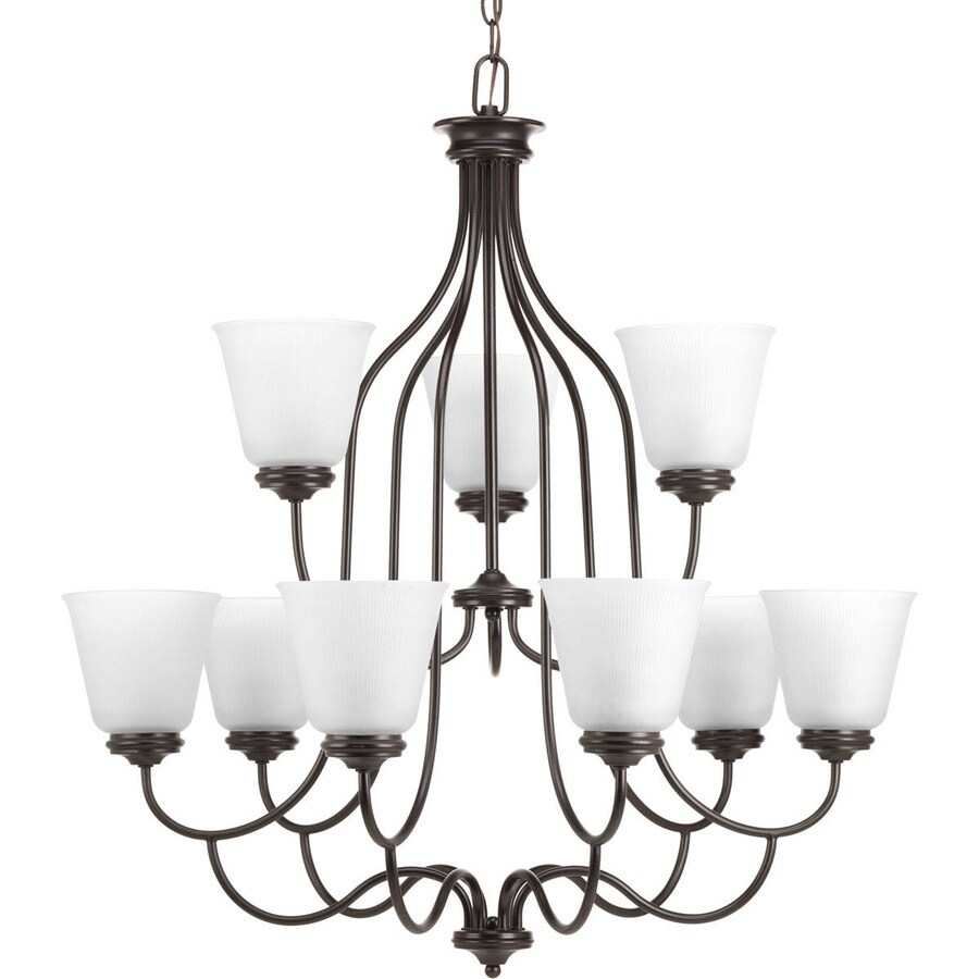 Progress Lighting Keats 30.5-in 9-Light Antique Bronze Ribbed Glass Shaded Chandelier
