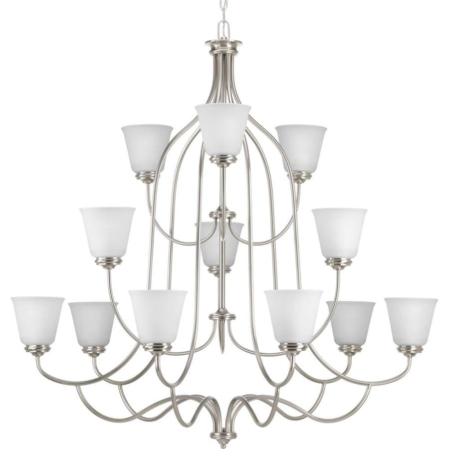 Progress Lighting Keats 44.5-in 12-Light Brushed Nickel Ribbed Glass Shaded Chandelier
