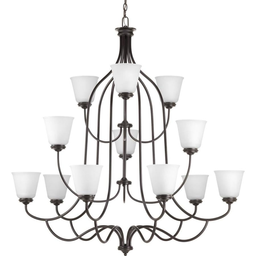 Progress Lighting Keats 44.5-in 12-Light Antique bronze Ribbed Glass Shaded Chandelier