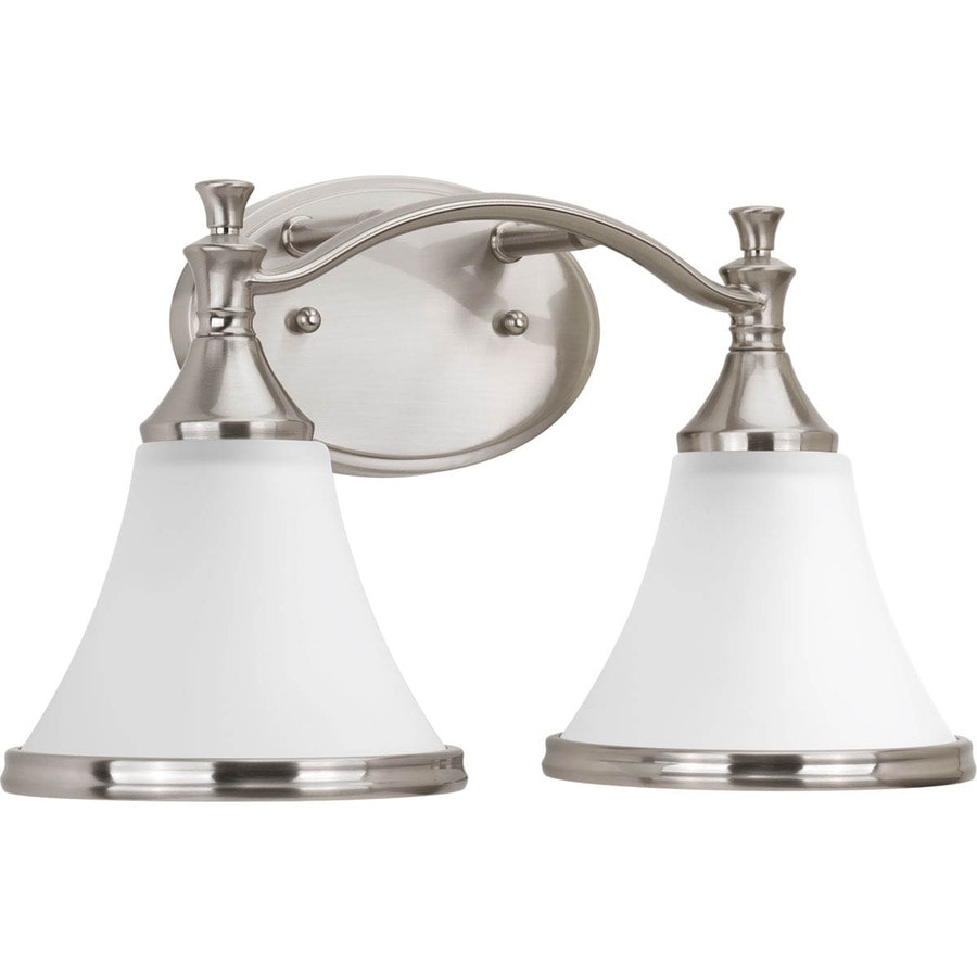 delta bathroom lighting shop delta valdosta 2 light 15 125 in brushed nickel bell 12655