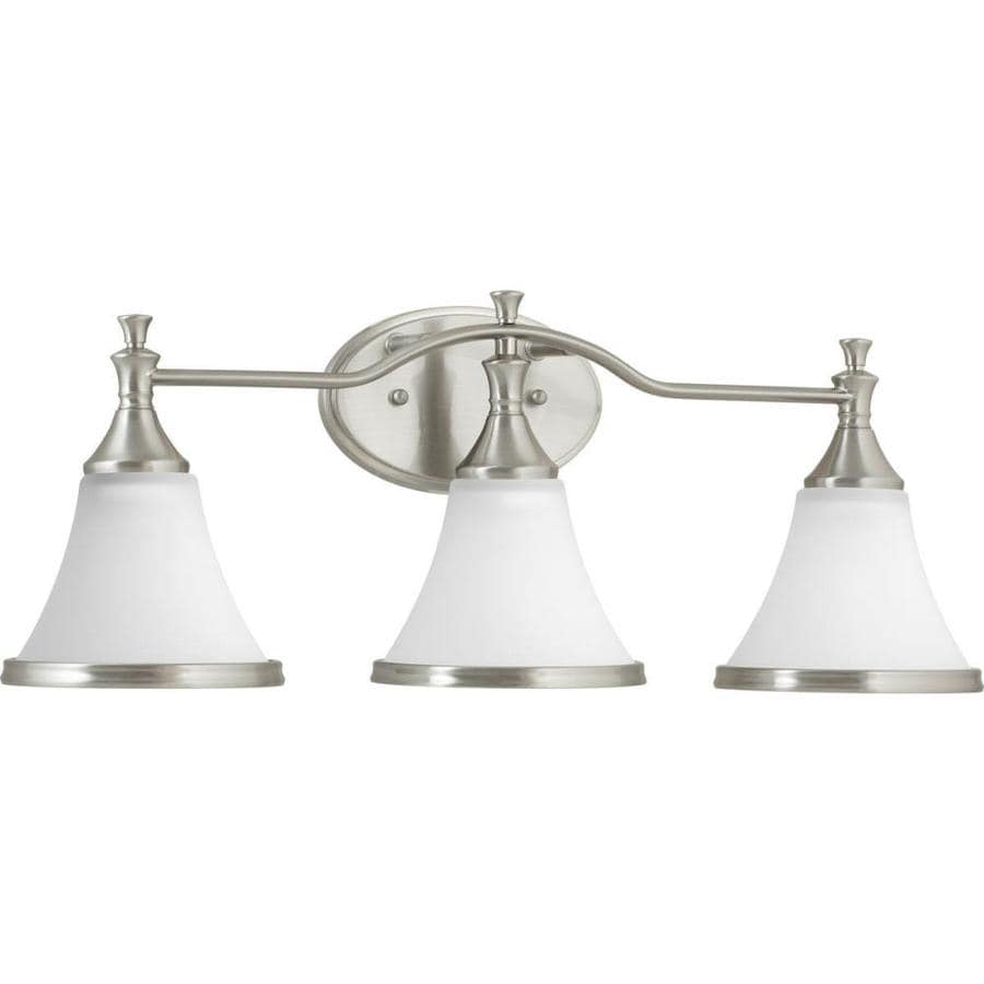delta bathroom lighting shop delta valdosta 3 light 24 in brushed nickel bell 12655
