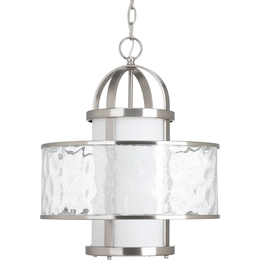 Progress Lighting Bay Court 15-in Brushed Nickel Coastal Single Clear Glass Drum Pendant