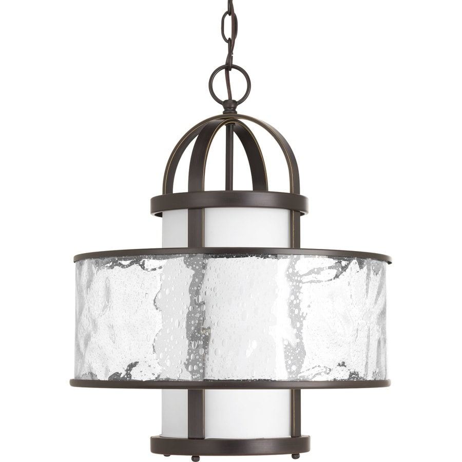 Progress Lighting Bay Court 15-in Antique Bronze Coastal Single Clear Glass Drum Pendant