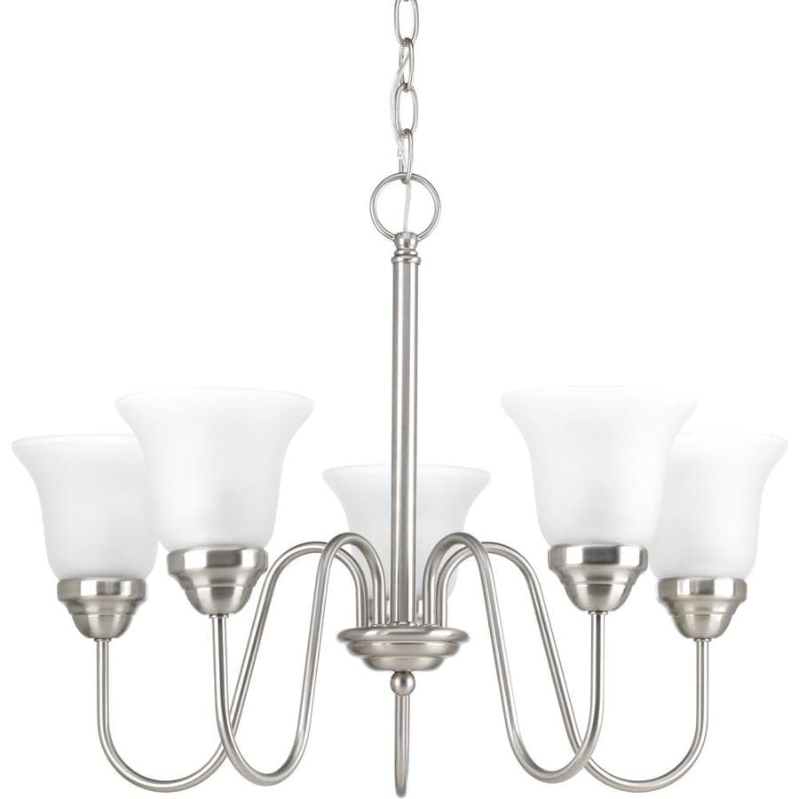 Progress Lighting Classic 23-in 5-Light Brushed Nickel Etched Glass Shaded Chandelier