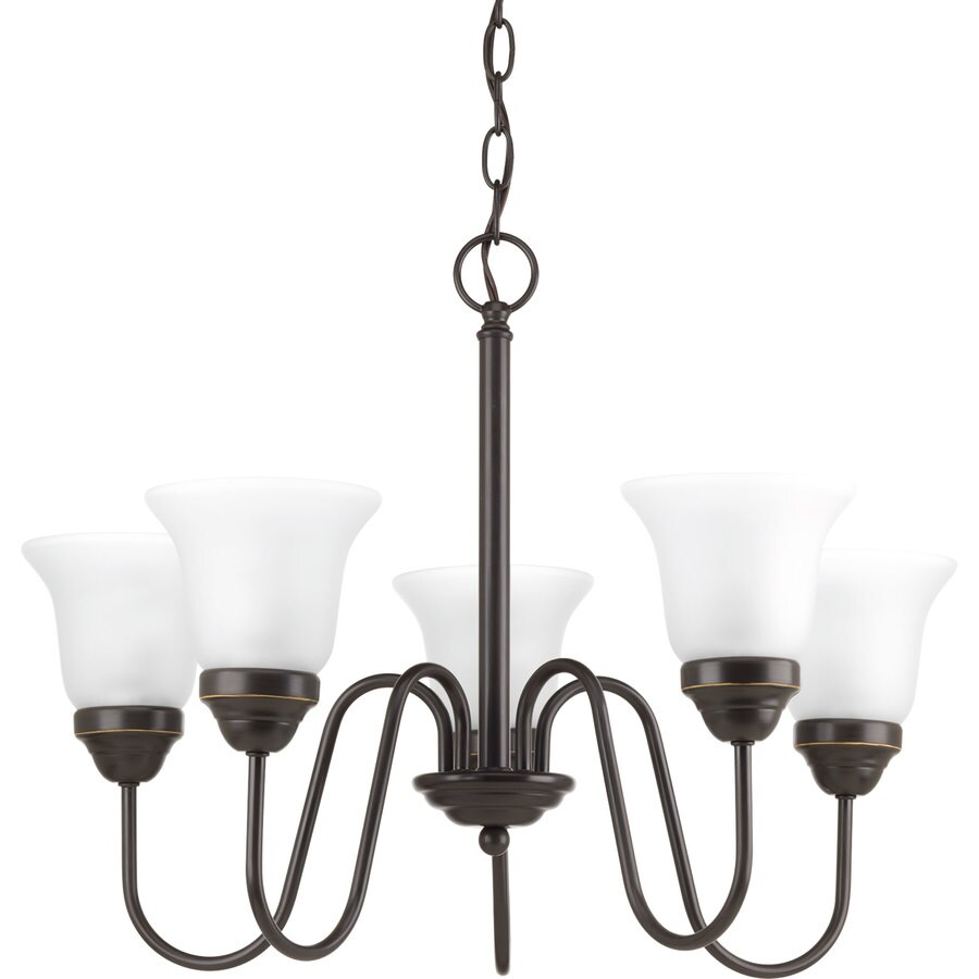 Progress Lighting Classic 23-in 5-Light Antique Bronze Etched Glass Shaded Chandelier