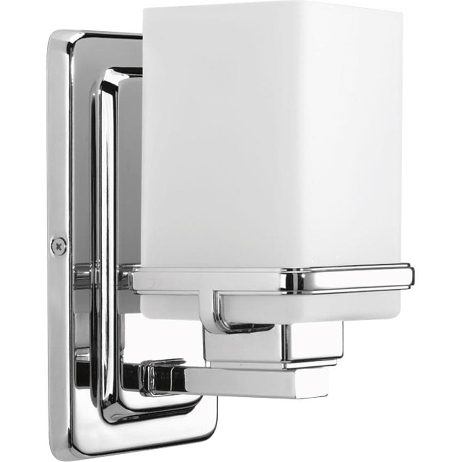 Progress Lighting Metric 1-Light 8-in Polished chrome Square Vanity Light