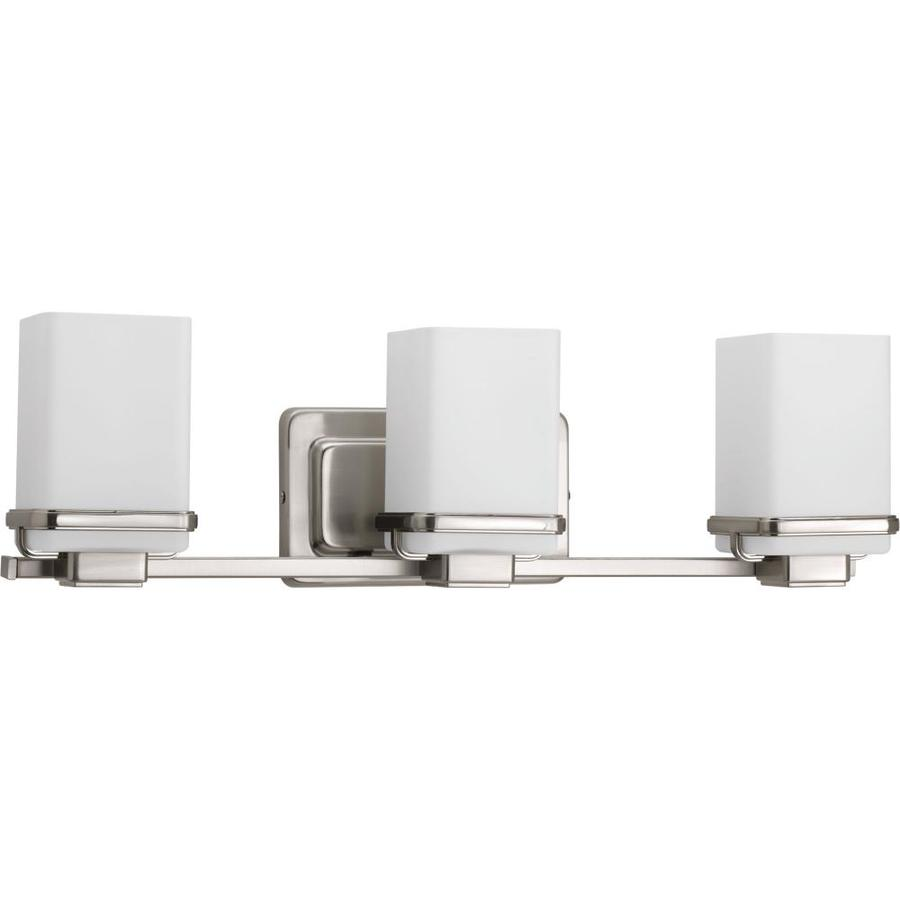 Progress Lighting Metric 3-Light 6.5-in Brushed Nickel Square Vanity Light