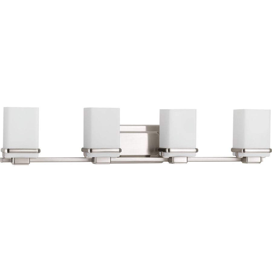 Progress Lighting Metric 4-Light 6.5-in Brushed Nickel Square Vanity Light