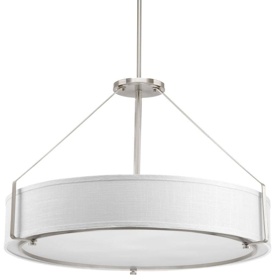 Progress Lighting Ratio 30-in Brushed Nickel Single Drum Pendant