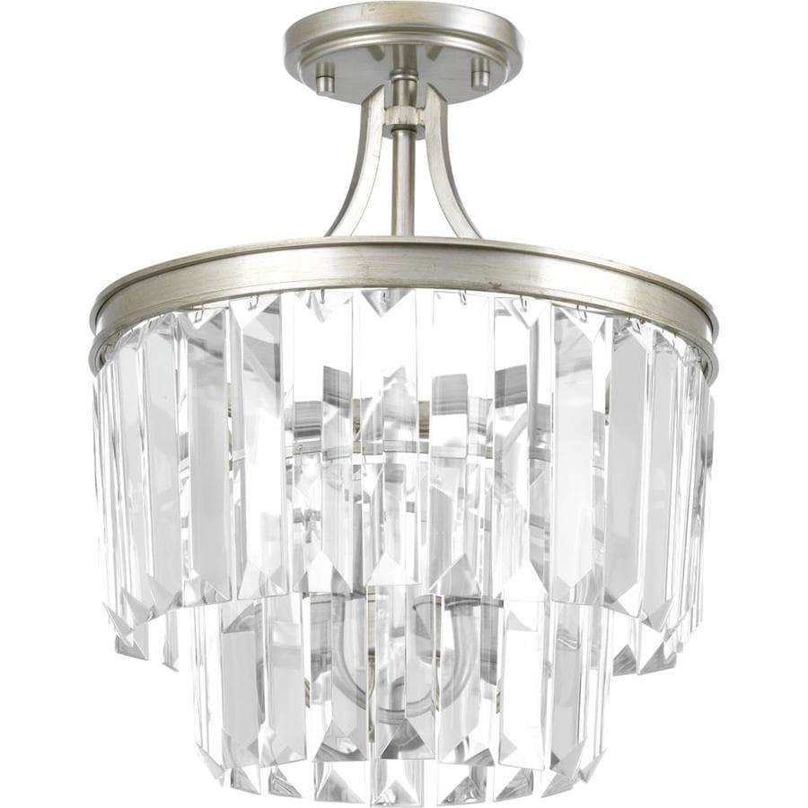 Progress Lighting Glimmer 13.125-in W Silver Ridge shades Crystal accent Semi-Flush Mount Lightt