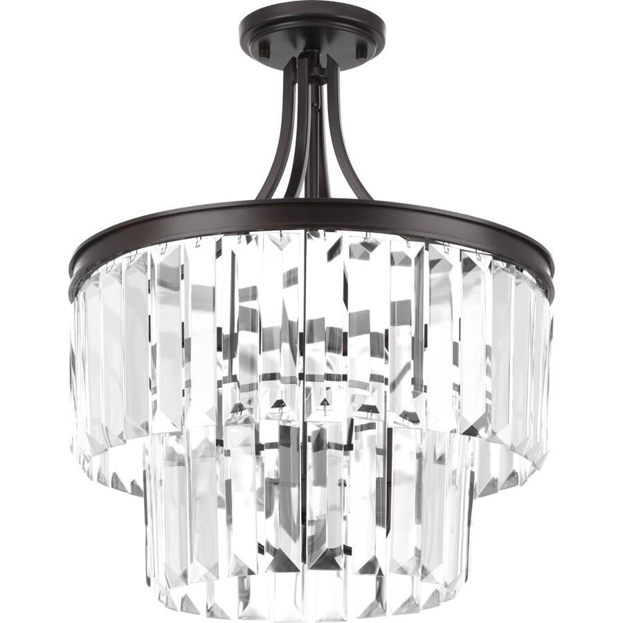 Progress Lighting Glimmer 16.25-in W Antique Bronze Clear Glass Semi-Flush Mount Light