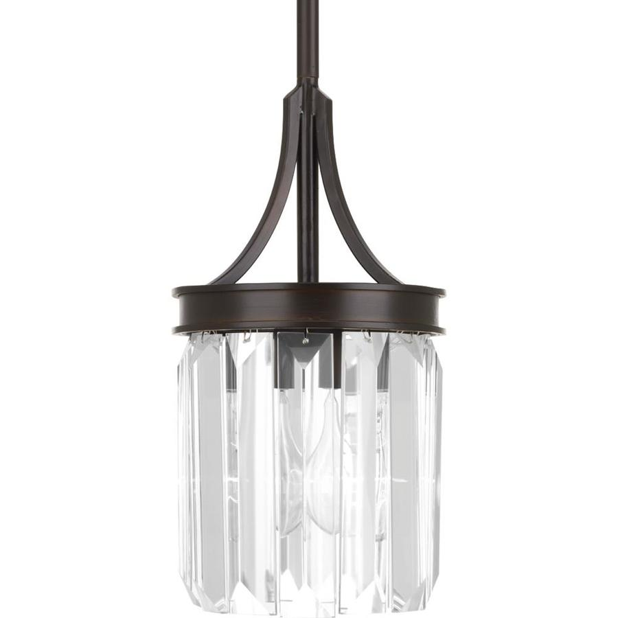 Progress Lighting Glimmer 6-in Antique Bronze Crystal Single Clear Glass Waterfall Pendant