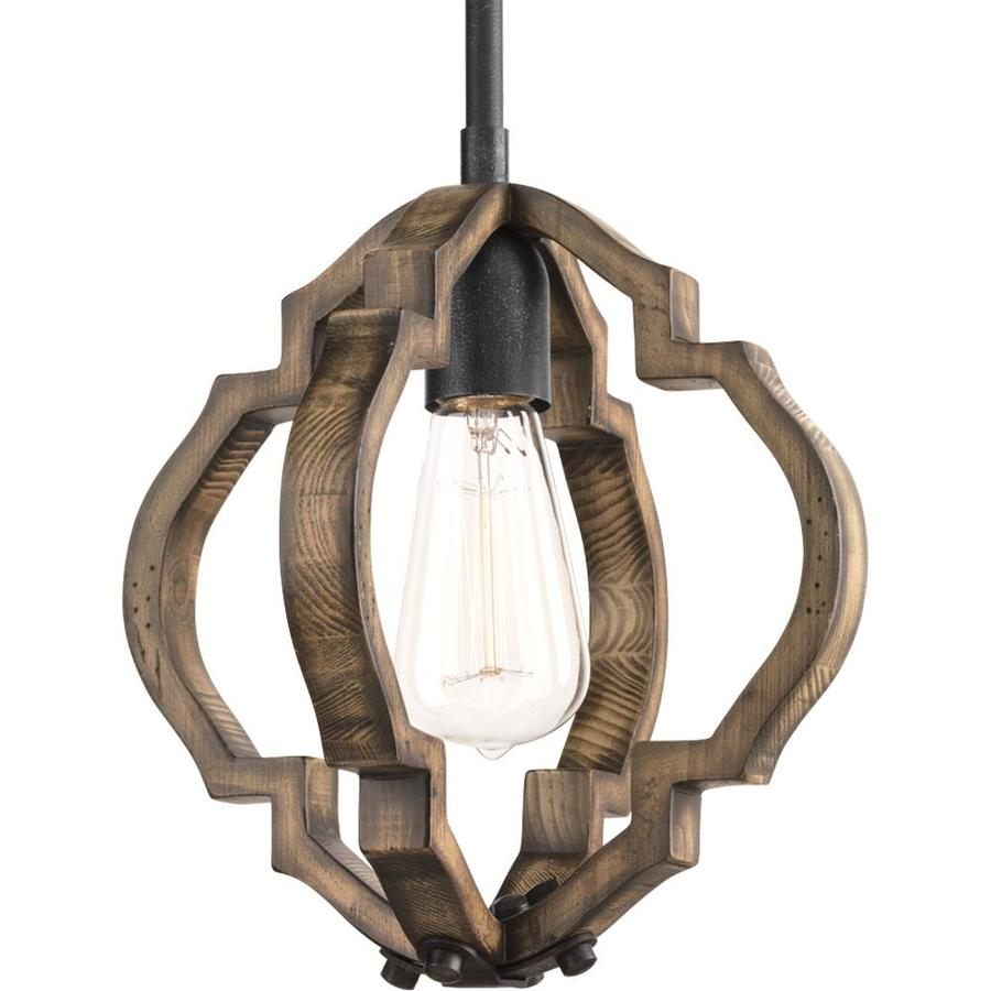 Progress Lighting Spicewood 10-in Gilded Iron Mediterranean Single Geometric Pendant