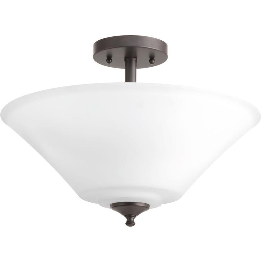 Progress Lighting Joy 16.625-in W Antique Bronze Etched Glass Semi-Flush Mount Light