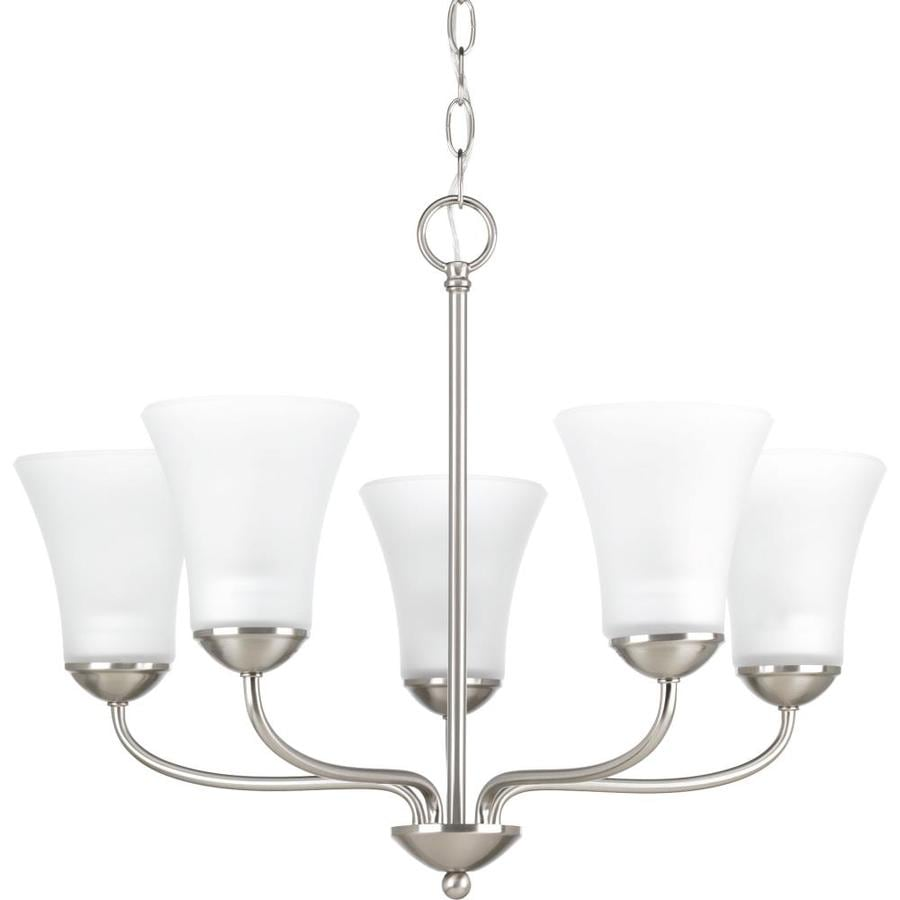 Progress Lighting Classic 21.88-in 5-Light Brushed nickel Etched Glass Shaded Chandelier