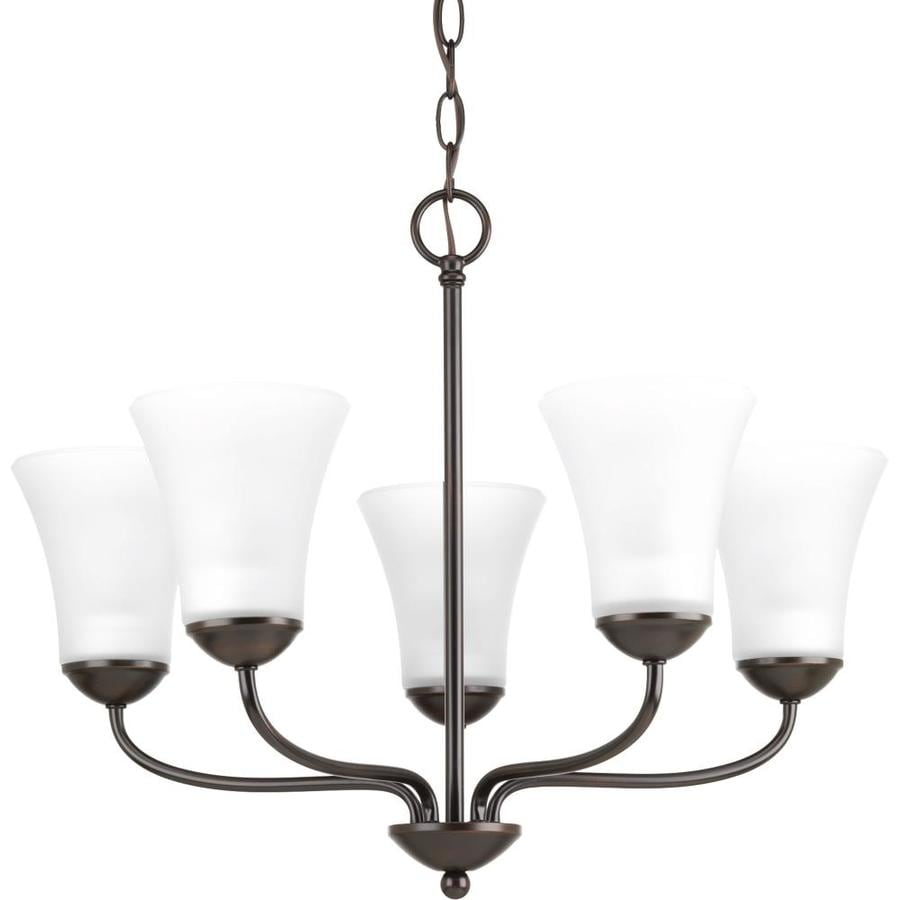 Progress Lighting Classic 21.88-in 5-Light Antique Bronze Etched Glass Shaded Chandelier