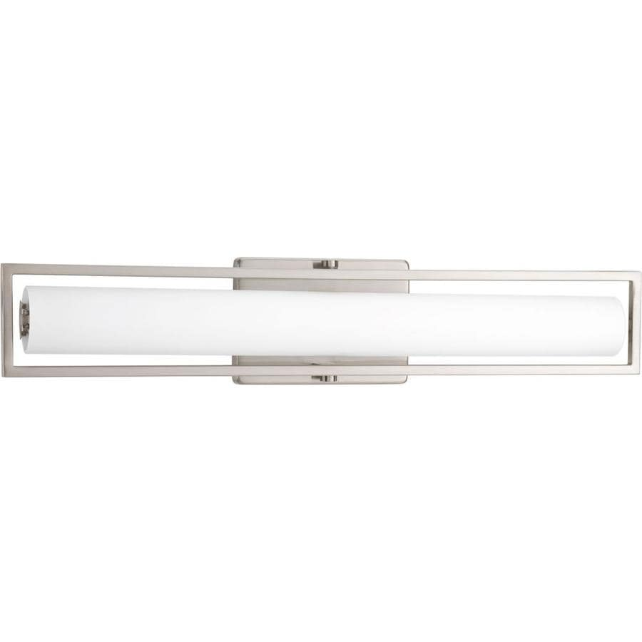 Vanity Light Bar Brushed Nickel : Shop Progress Lighting Frame 1-Light 3.38-in Brushed Nickel Rectangle LED Vanity Light Bar at ...