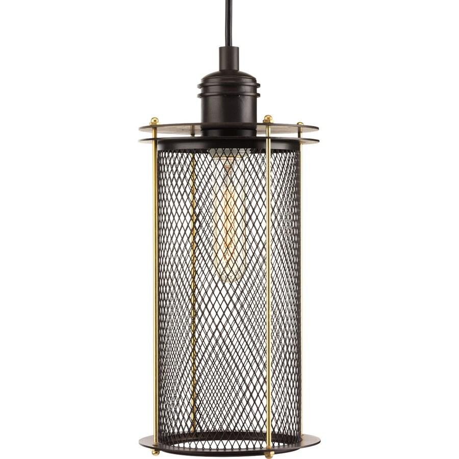 Progress Lighting Industrial 6.25-in Antique Bronze Industrial Single Cage Pendant