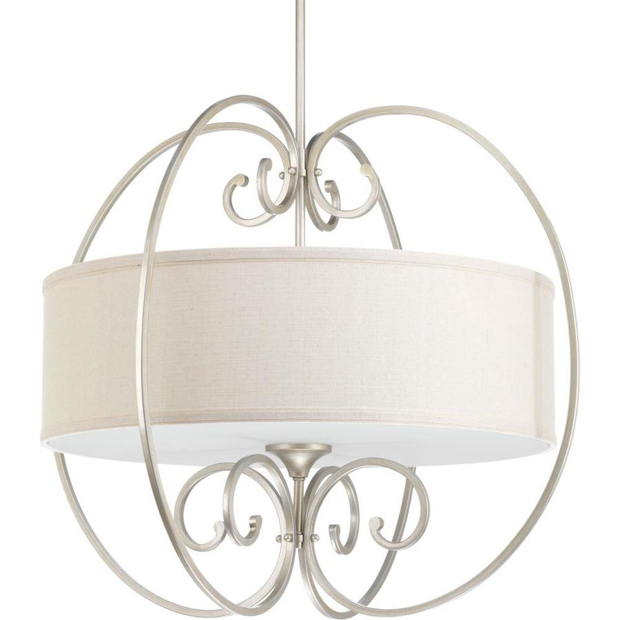 Progress Lighting Overbrook 28-in Silver Ridge Single Drum Pendant