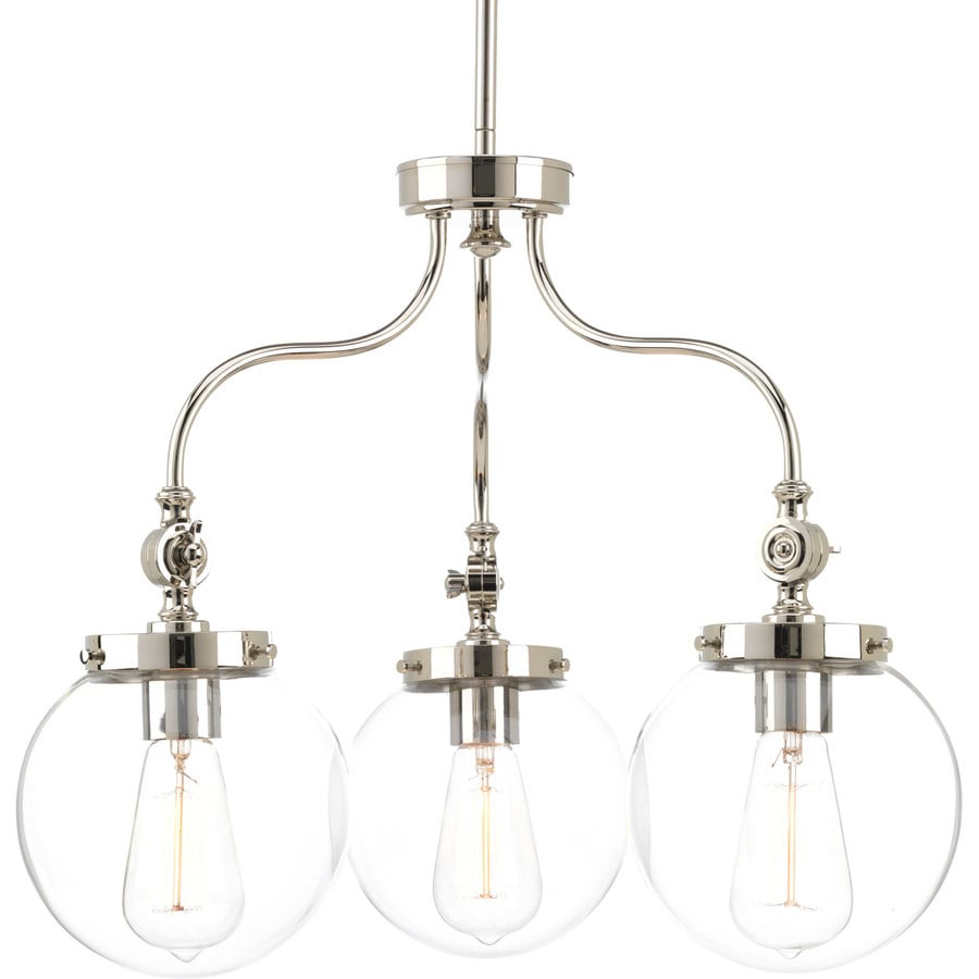 Progress Lighting Penn 22-in 3-Light Polished Nickel Clear Glass Globe Chandelier