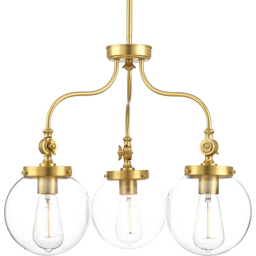 Progress Lighting Penn 22-in 3-Light Natural Brass Clear Glass Globe Chandelier