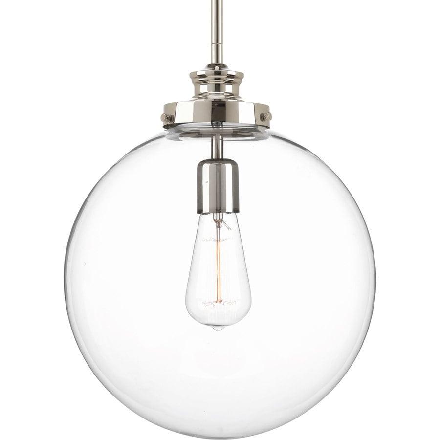 Progress Lighting Penn 12-in Polished Nickel Single Clear Glass Globe Pendant