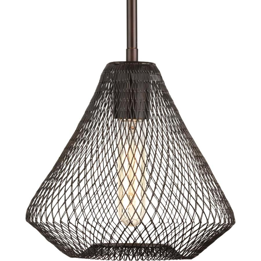 Progress Lighting Mesh 8.5-in Antique Bronze Single Cage Pendant