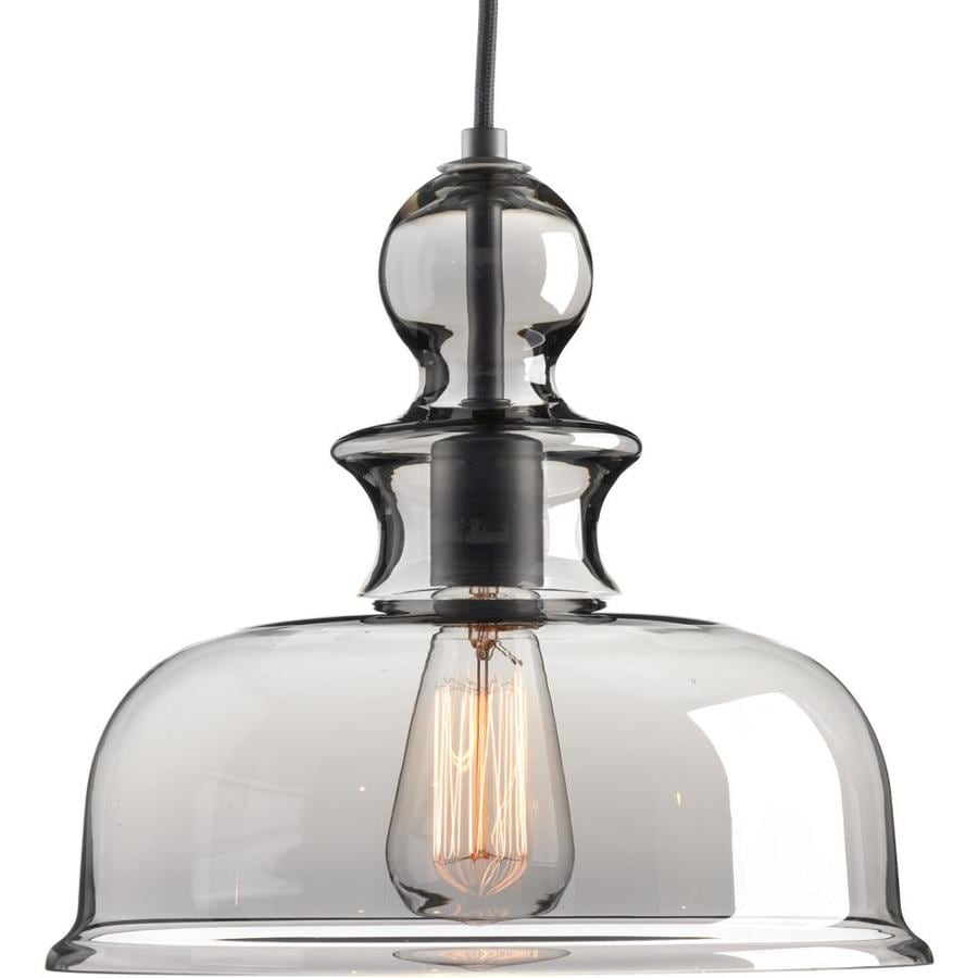 Progress Lighting Staunton 12-in Graphite Single Tinted Glass Bell Pendant