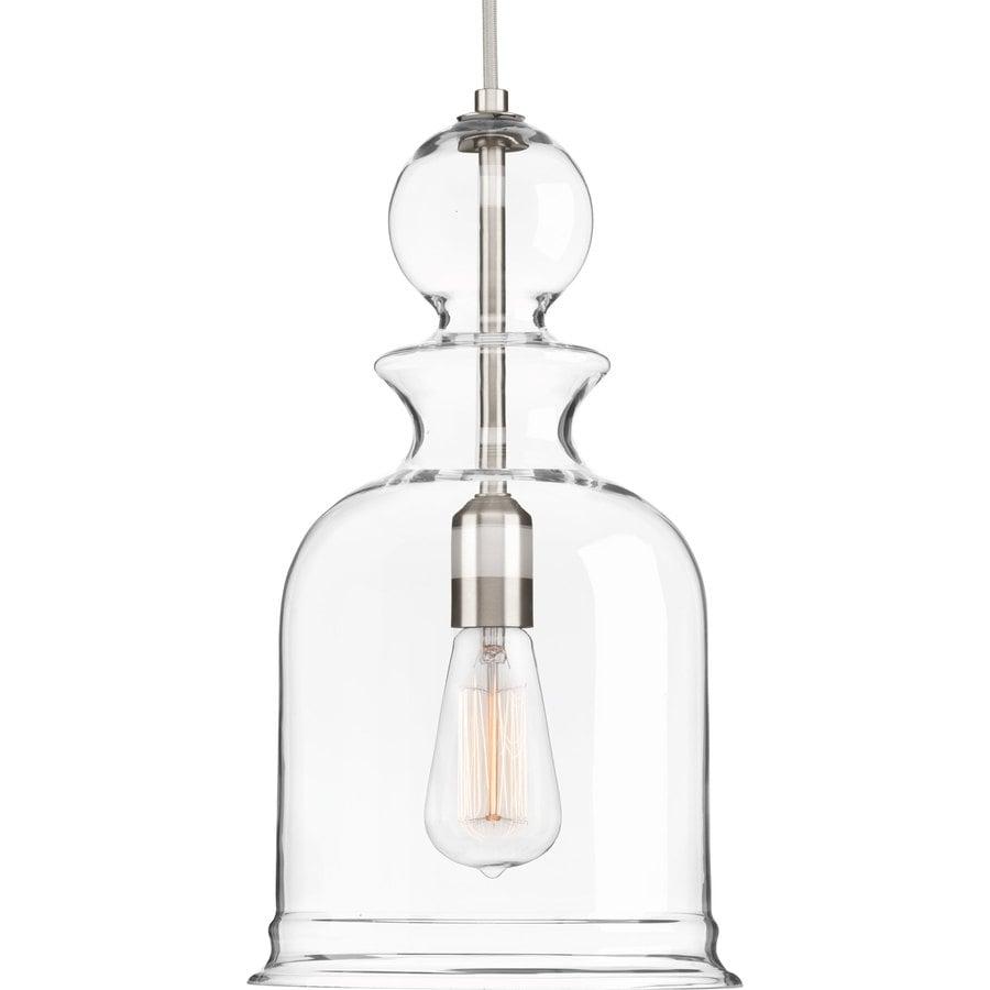 Progress Lighting Staunton 9-in Brushed Nickel Single Clear Glass Bell Pendant