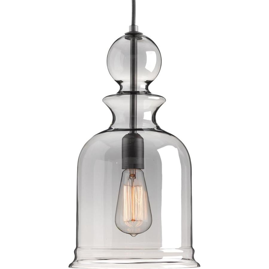 Progress Lighting Staunton 9-in Graphite Single Tinted Glass Bell Pendant