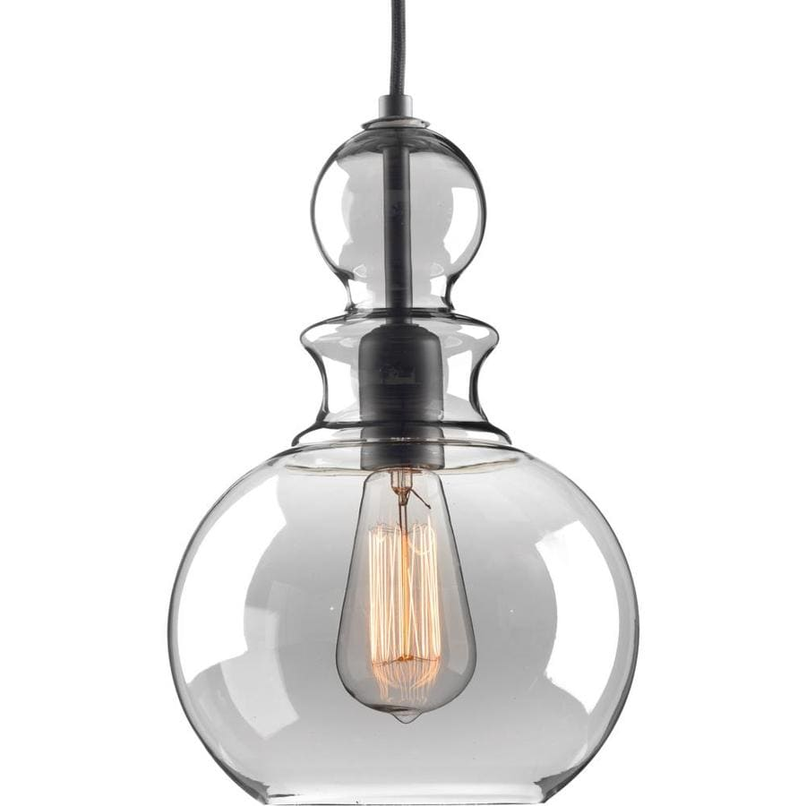 Progress Lighting Staunton 8.5-in Graphite Single Tinted Glass Globe Pendant
