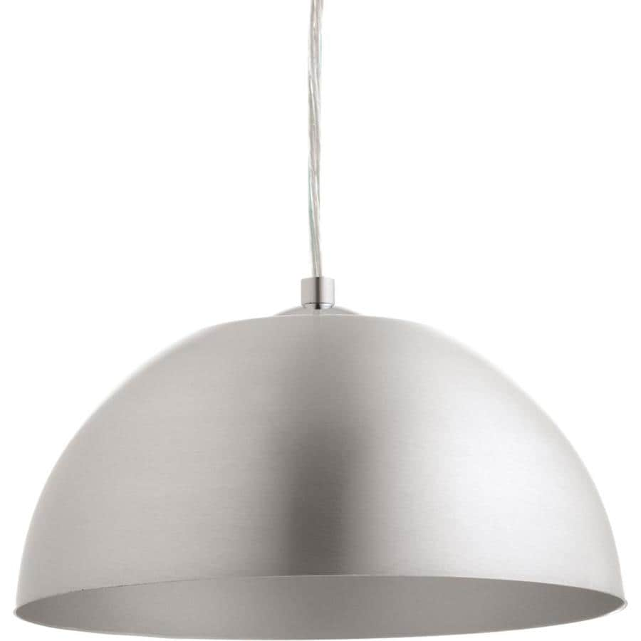 Progress Lighting Dome 10-in Satin Aluminum Single Dome Pendant