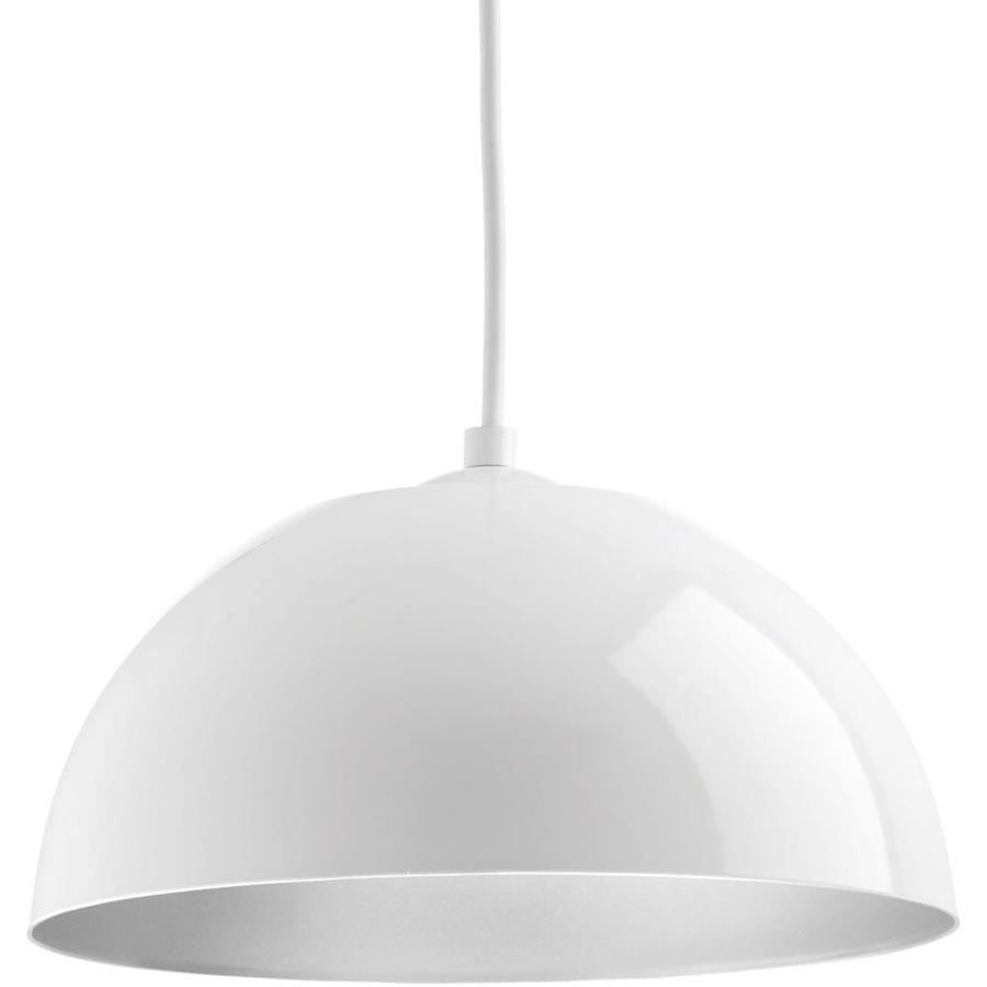 Progress Lighting Dome 10-in White Dome LED Pendant