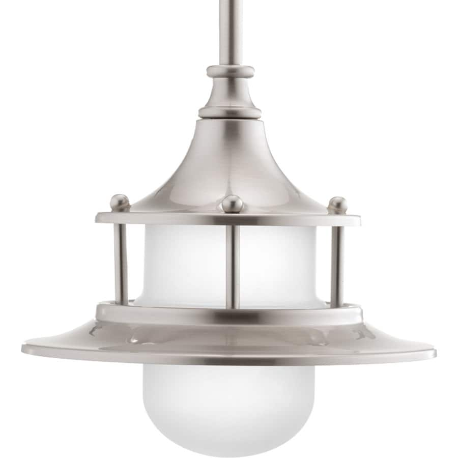 Progress Lighting Parlay 8-in Brushed Nickel Coastal Etched Glass LED Pendant