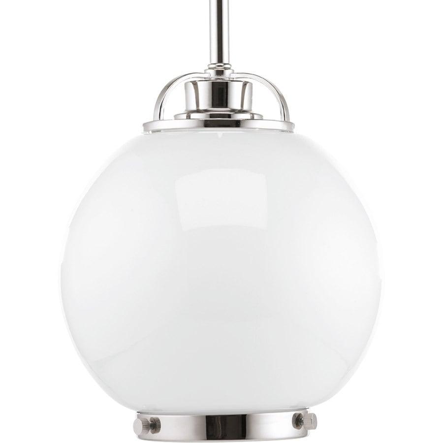 Progress Lighting Chronicle 8-in Polished Nickel Single Seeded Glass Globe Pendant