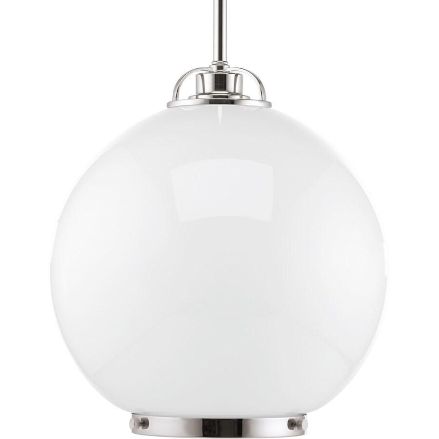 Progress Lighting Chronicle 12-in Polished Nickel Single Seeded Glass Globe Pendant