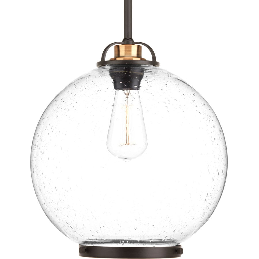 Progress Lighting Chronicle 12-in Antique Bronze Single Seeded Glass Globe Pendant